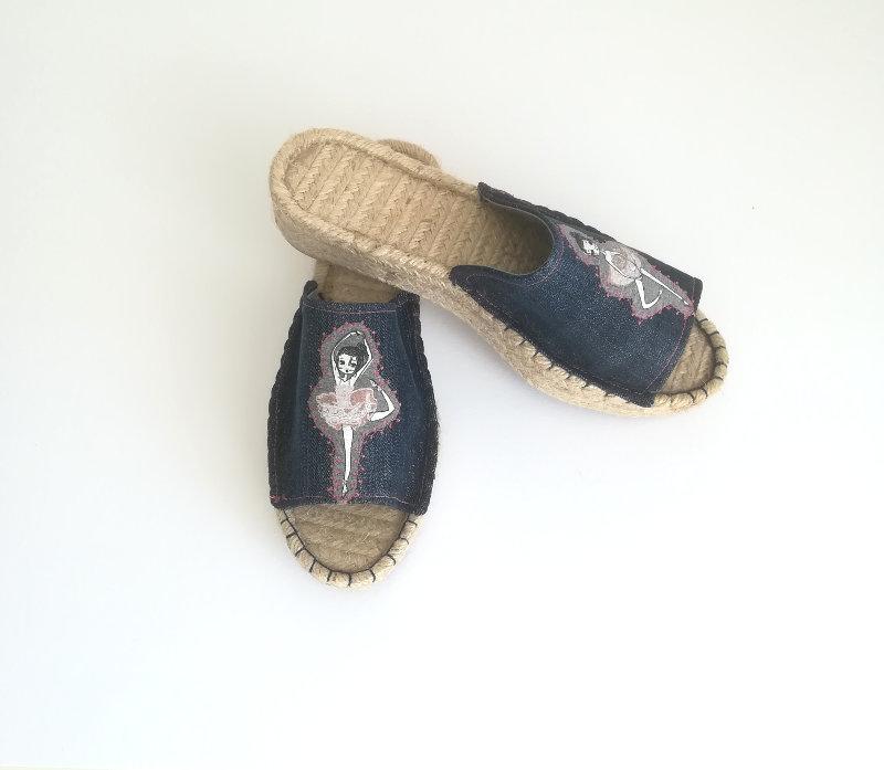 Pantolette-Espadrille-Jeans-Applikation-Ballerina