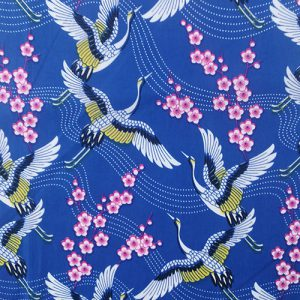 Cotton blue with cranes and cherry blossoms