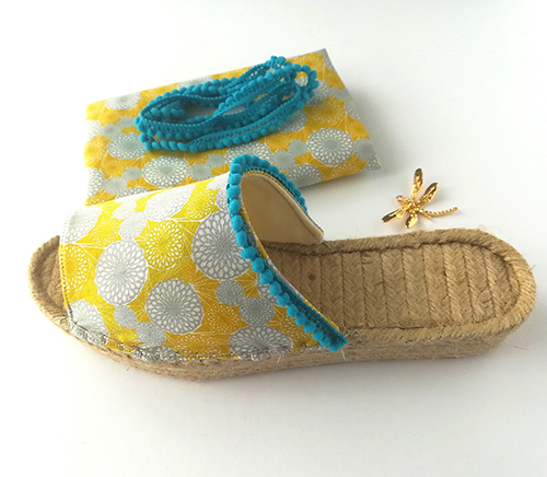 Espadrille mule with cotton yellow and gray circles