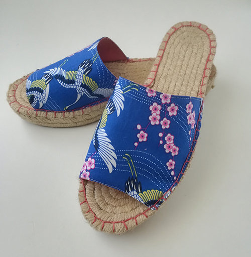 Mule-blue cotton with cranes and cherry blossom